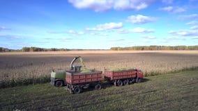接近的鸟瞰图组合倾吐玉米叶子入拖车 股票录像