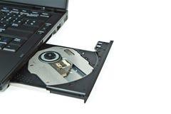 接近的dvd膝上型计算机盘 库存照片