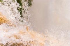 接近Iguacu的水落力量标志的手 免版税库存照片