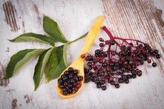 接骨木浆果堆与木匙子的在老木背景,健康食物 库存图片