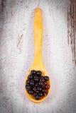 接骨木浆果堆在木匙子的在老木背景,健康食物 图库摄影