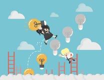 控制与金钱投资的梯子电灯泡 向量例证