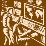 控制室指挥中心总部木刻 免版税库存照片