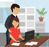 控制接触胳膊对他的秘书肩膀在办公室 向量例证