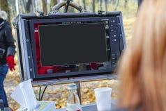 控制板在拍摄影片的演播室 免版税库存照片
