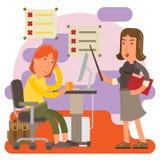 控制狂妇女在工作办公室 库存照片