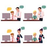 控制研究计算机的处理的雇员,批准,不许可的姿态 向量例证