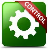 控制设置象绿色正方形按钮 库存图片