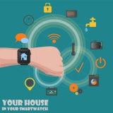 控制通过smartwatch的聪明的家庭探测器 图库摄影