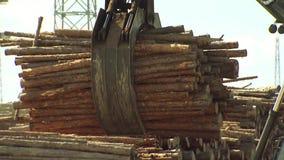 推力夺取并且举起木柴,锅炉的固体燃料 股票录像
