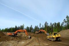 推土机和挖掘机 库存图片