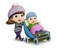 推挤她的小兄弟的姐妹在婴儿推车 免版税库存照片
