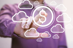 推挤按钮美元连接网络云彩的商人 免版税库存图片
