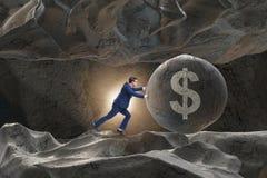 推挤的商人美元的符号企业概念 免版税图库摄影