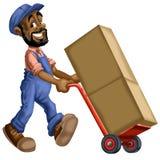 推挤箱子的搬家工人动画片 免版税库存图片