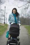 推挤婴儿推车的母亲在公园 免版税库存图片