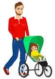 推挤婴儿推车的英俊的唯一父亲 图库摄影