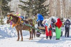 推车利用的马是俄国h的幸运人 免版税库存照片