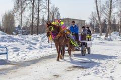 推车利用的马是俄国h的幸运人 免版税图库摄影