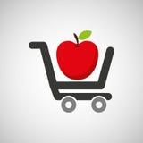推车购买美味食物苹果 免版税库存照片