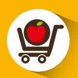 推车购买美味食物苹果 免版税库存图片