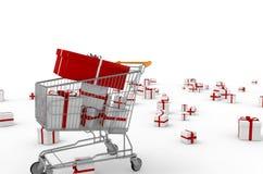 推进与礼品的购物车 免版税库存图片
