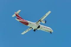 推进器地方服务ATR 72-500空气的Ma驾驶的飞机 库存照片