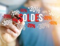 推销活动20% 30%和50%飞行在接口的- Shopp 免版税库存照片