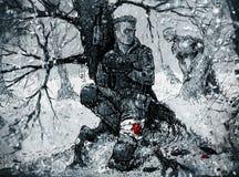 掩藏在冬天森林的战士 库存图片