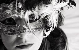 掩藏在面具后 免版税库存照片