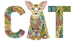 措辞与猫的图画的CAT 传染媒介装饰zentangle对象 皇族释放例证