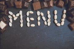 措辞与chokolate的菜单 免版税库存图片