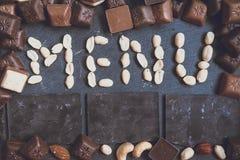 措辞与chokolate的菜单 图库摄影