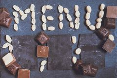 措辞与chokolate的菜单 免版税库存照片