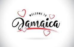 措辞充满手写的字体和红色爱的文本的牙买加欢迎 皇族释放例证