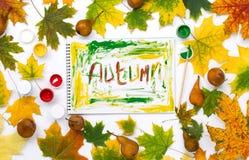 措辞在一个册页的秋天与秋叶和梨 库存图片