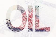 措辞在一部分的油的与石油平台的尼日利亚货币 库存图片