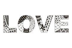 措辞在白色背景传统化的爱zentangle,传染媒介, illust 免版税图库摄影
