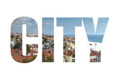 措辞在看法的城市从在屋顶的山 mod 库存照片