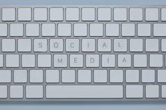 措辞在键盘的社会媒介 库存照片