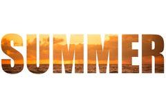 措辞在风雨如磐的日落的夏天在地中海 云彩和 免版税库存照片