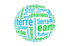 措辞地球,翻译在许多语言,蓝色和绿色在白色 库存图片