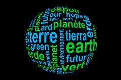 措辞地球,翻译在许多语言,蓝色和绿色在黑色 免版税库存照片