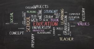 措辞学会学生图表印刷术动画的云彩教育 库存例证