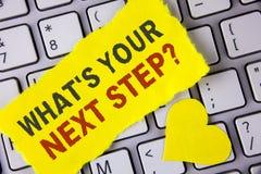 措辞文字文本什么是您的下一个步骤问题 Analyse的企业概念在做出在te写的决定前要求自己 免版税库存图片