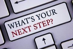 措辞文字文本什么是您的下一个步骤问题 Analyse的企业概念在做出在Wh写的决定前要求自己 库存图片
