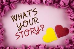 措辞文字文本什么是您的故事问题 告诉的在plai写的个人经验讲故事企业概念 库存图片