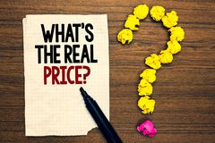 措辞文字文本什么s是真实的价格问题 物产或事务的Give实际价值的企业概念 免版税库存图片