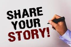措辞文字文本份额您的故事诱导电话 经验乡情记忆个人文本白色backgro的企业概念 免版税库存照片