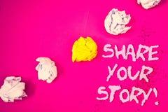 措辞文字文本份额您的故事诱导电话 经验乡情记忆个人词的企业概念变粉红色backgro 图库摄影